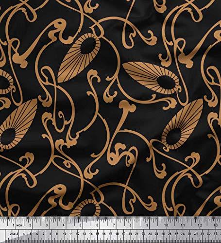 Soimoi Schwarz Baumwolle Ente Stoff Jugendstil-Elemente Kunsthandwerk Stoff Meterware 56 Zoll breit