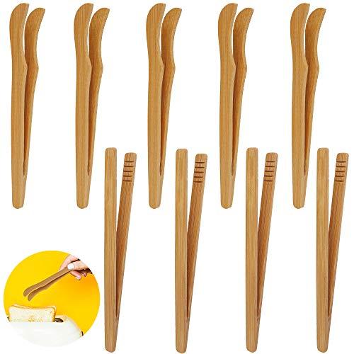 Toast- Küchezange 12 Stück Bambus Küchezange Grillenzange Holz kleine Küche Mehrzweckzange BBQ Lebensmittelzange Buffetzange für Toast Salat Kuchen Sushi