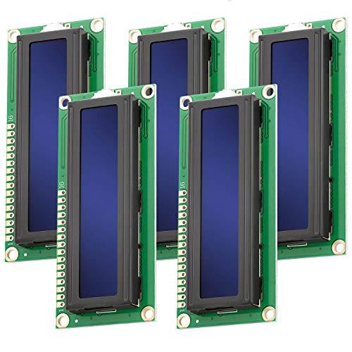 AZDelivery 5 x HD44780 1602 Modulo Display LCD 2x16 Caratteri con Sfondo Blu e Caratteri Bianchi compatibile con Arduino e Raspberry Pi incluso un E-Book!