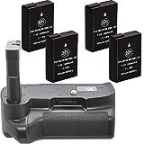 Battery Grip Kit for Nikon D3100 D3200 D3300 D5100 D5200 D5300 Digital SLR Camera - Includes Qty 4 BM Premium EN-EL14 Batteries + BG-N12 Battery Grip Replacement