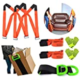 Moving Straps Lifting System Kit Shoulder Dolly with Non-Slip Silicone for 2-Person and Widen Handle Lifting Straps for 1-Person for House-Moving, Furniture, Appliances, Boxes, Heavy Objects Moving