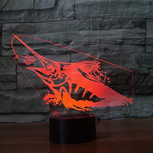 Regalo De Navidad Regalo De Los Niños Captura De Pescado Lámpara De Mesa 3D Decorativo Led Usb 7 Cambio De Color Visual Lanpara Ventilador De Pesca Sueño Luz Nocturna