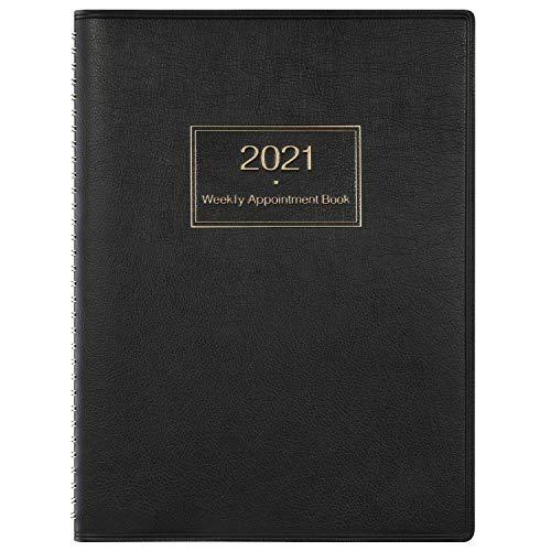 Terminplaner 2021 A4, Tagesplaner zum Anzeigen des Stundenplans in 15 Minuten, 21,8 x 29 cm, Softcover planer mit Ringgebunden, Schwarz