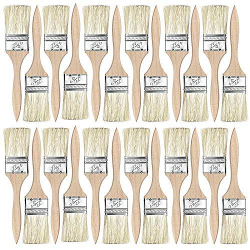 Pincel plano para barniz, 38 mm, 24 pinceles reutilizables con cerdas sintéticas y mango de álamo para pintar, barnizar, decapar y pintores con resina epoxi, barnices y colores
