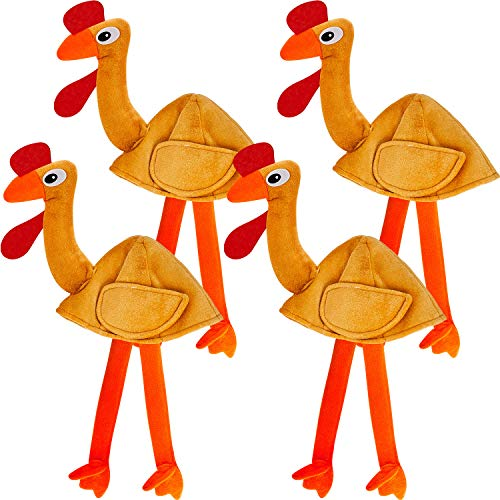 4 Pieces Turkey Hats Thanksgiving Christmas Hat with Thanksgiving Supplies Fun Plush Turkey Hat with Legs and Tail Funny Accessory Trot Accessory Toy for Teenagers Woman Man
