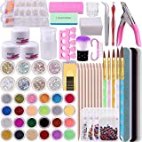 BQTQ Nail Art Kit 3 Colours Acrylic Powder in Clear White and Pink