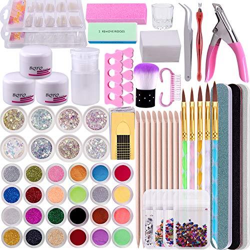 BQTQ Acryl Nagelset Acrylpulver für Nägel Weiss Pink Klar, Falsche Nägel Nagelfeilen Acryl Set für Nägel Nail Art Kit