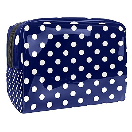 Bolsa de cosméticos para Mujeres Azulejo baldosas Blanco Lunares Marinero Azul Marino Azul Bolsas de Maquillaje espaciosas Neceser de Viaje Organizador de Accesorios