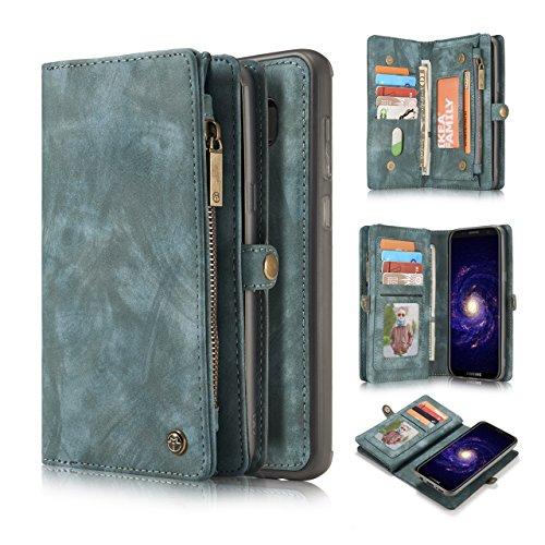 Galaxy S7 Edge Wallet Case,AKHVRS Handmade Premium Cowhide Leather Wallet Case,Zipper Wallet Case [Magnetic Closure]Detachable Magnetic Case & Card Slots for Samsung Galaxy S7 Edge - Blue