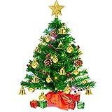 Mini Sapin de Noel, 50cm Petit Sapin de Noel de Table avec Guirlande Lumineuse LED Multicolores, Arbre de Noël Artificiel avec Etoile Sapin, Meilleures Décorations de Noël Bricolage