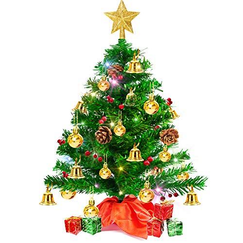 Weihnachtsbaum klein 50cm, künstlicher Christbaum mit bunter batteriebetriebener Lichterkette, Baumspitze, Kugeln, Schelle, Beeren, Kiefernzapfe, Weihnachtsdeko, Mini Tannenbaum für Tisch, Büro
