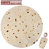 LetsFunny Burrito Tortilla Human Blanket, Burrito Wrap Novelty Blanket Tortilla Towel for Adults/Kids, Giant Round Beach Towel/Throw Blanket/Picnic Blanket (Yellow 3, 47.00)