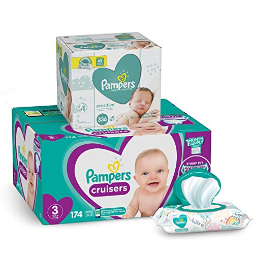 Diapers Size 3, 174 Count and Baby Wipes - Pampers Cruisers Disposable Baby Diapers and Water Baby Wipes Sensitive Pop-Top Packs, 336 Count