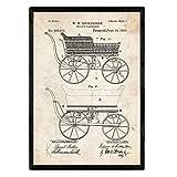 Nacnic Poster con Patente de Carrito Bebe. Lámina con diseño de Patente Antigua en tamaño A3 y con Fondo Vintage