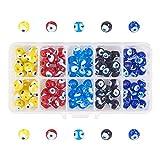 nbeads 1 Box Runde Böser Blick handgefertigt Glas Lampwork Beads Charms Spacer Beads für...
