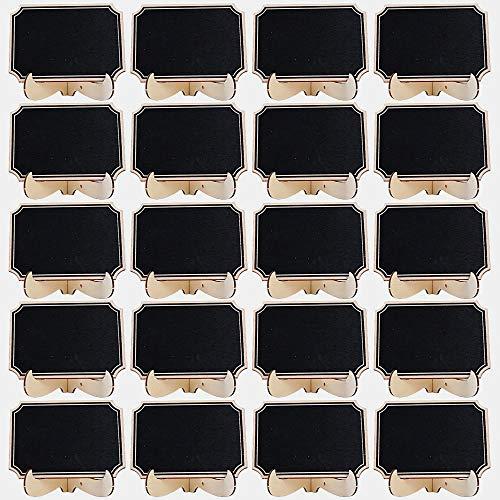 CAILI 20 Stück Mini Tafeln Schilder, Klein Holz Kreidetafel mit Ständer- als Tischkarten Platzkarte Namensschild Preisschilder für Hochzeit, Birthday Parties Dekorationen