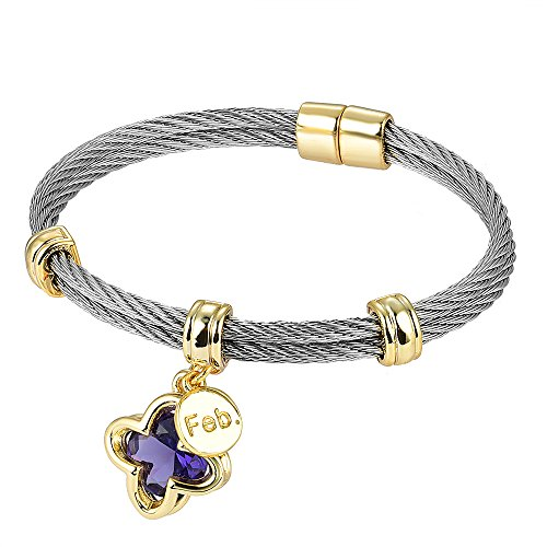 BIJOUX BOBBI [Luxury Packaging Premier Birthstones Beautiful Twisted Cable Bangles - February - A4996BKA