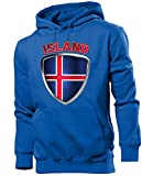 Golebros Island Iceland Fan Artikel 4693 Fuss Ball EM 2020 WM 2022 Hoodie Pulli Sweatshirt Kapuzen Pullover Flagge Fahne Team Männer Herren Boys XL