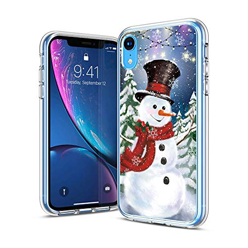 cocomong Merry Christmas for iPhone XR Case 6.1' Winter Snowman Christmas Trees Pattern Flexible TPU Thin Protective Phone Case for iPhone XR Anti-Scratch-Drop Bumper Phone Cover