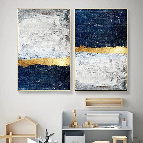 Yegnalo Bloque de lámina de Oro Abstracto Pintura en Lienzo Cartel con Estampado Azul Moderno Cuadro de Arte de Pared Dorado Sala de Estar decoración del hogar