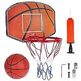Vanplay Canestro Basket da Camera Mini Giochi Canestro Set con Rete, Sfera e Inflator Ufficio Esterno e Interno Gioco Pallacanestro per Bambini
