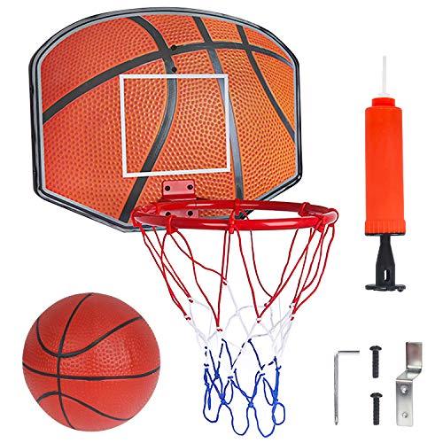 Vanplay Basketballkorb fürs Zimmer Mini Basketballkorb mit Netz, Bälle und Inflator, Sport Outdoor Indoor für Kinder
