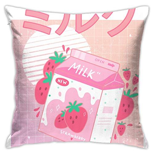 Anime & Japanese Aesthetics Kawaii Strawberry Milk Shake Pillowcases, Floor Pillowcases, Pillowcases, Sofa Cushions, Cushion Covers, Backrest Covers, Car Cushion Interiors
