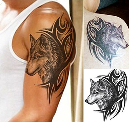Temporäre Körperkunst Entfernbare Tattoo Aufkleber Wolf LHX-36 Sticker Tattoo Temporary Tattoo - FashionLife