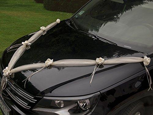 PartyDeco GKT2-079 Girlande aus Organza mit Rasen-Blumen, Autodekoration, Hochzeit, Creme, 2er-Set