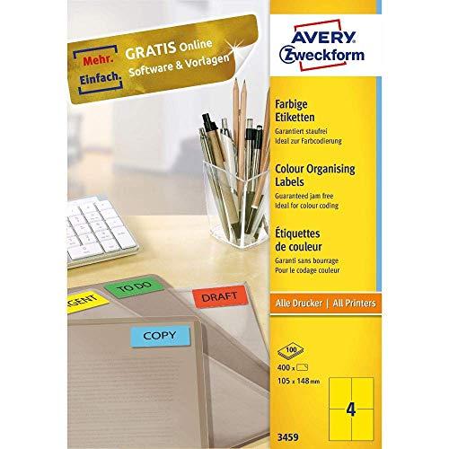 AVERY Zweckform 3459 Gelbe Etiketten (400 Aufkleber, 105x148mm auf A4, permanent haftende, selbstklebende Farbetiketten, Papier matt, bedruckbare, farbige Klebeetiketten) 100 Blatt