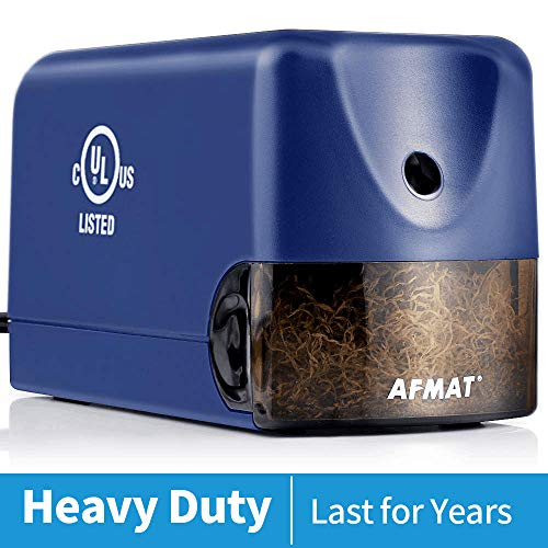 Heavy Duty Electric Pencil Sharpener, AFMAT Colored Pencil Sharpener for 6.5-8mm No.2 Pencils, UL Listed Heavy Duty Pencil Sharpener w/Stronger Helical Blade, Colored Pencil Sharpener-Blue