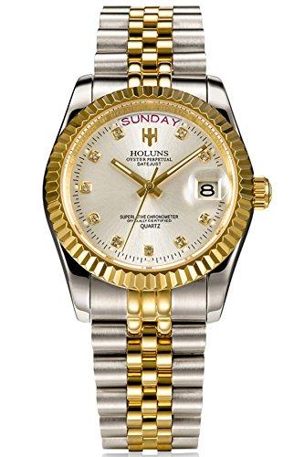 Loluka Herren Uhr Analog Quarz Edelstahl Armband Gold Datum Mode Elegant Design