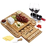 Bamboo Cheese Board 100% Natural with 6 Piece Cutlery Set In Slide-Out Drawer Strongest-and-Heaviest Duty Charcuterie Platter and Serving Meat Board, Cheese Platter With 2 Ceramic Cups - by Hartons