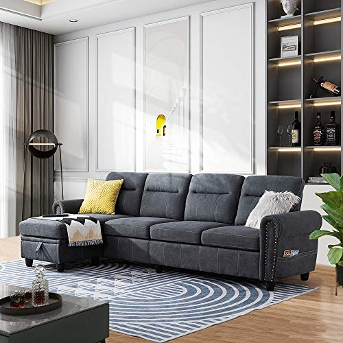 Walsunny 4-seat Sectional Sofa Couch with Reversible Chaise, Convertible L-Shaped Couch with Storage Ottoman for Living Room(Grey)