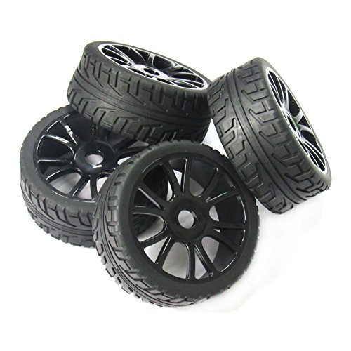 powerday4pcs 17mm Hub Wheel Rim & Tires Tyre for 1/8 Off-Road RC Car Buggy HSP