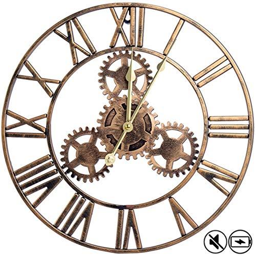 Relojes de pared grandes con números romanos engranajes silenciosos Reloj de esqueleto para la cocina para el hogar Sala de estar Dormitorio Oficina Café decoración del hotel, operado por baterías Sin