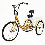 Bicicleta para adultos de 24 pulgadas, 6 velocidades, con respaldo de crucero, cesta amarilla para personas mayores, para entrenar, en nombre de otros y mejorar su cuerpo.