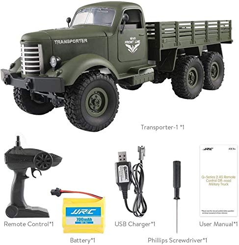 XYIDAI Camión Militar de Coches, 01:16 2.4G Control Remoto 6WD orugas Off-Road (Color : Green, Size : One Size)
