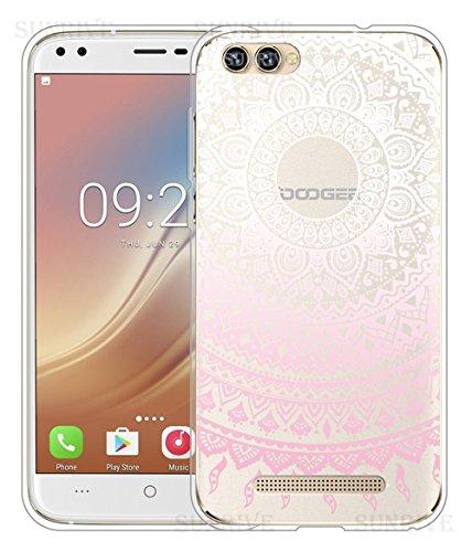 Sunrive Für DOOGEE X30 Hülle Silikon, Handyhülle Schutzhülle Etui Case Backcover für DOOGEE X30(TPU Blume rosa)+Gratis Universal Eingabestift