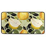 Kitchen Rugs and Mats Non-Slip Doormat Pear and Leaves Home Decor Floor Rug Standing Mat, Washable Hypoallergenic Waterproof (39''x 20'')