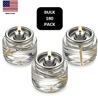 Bulk Tealight Fuel Cells Liquid Paraffin Oil Candles - Disposable - 8 Hour Burn (180 Pack) Made in USA