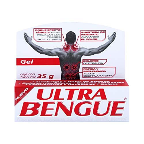 ULTRA BENGUE, Gel con Efecto Térmico, con LIDOCAÍNA, NAPROXENO, SALICILATO DE METILO y MENTOL, alivia y anestesia el dolor al instante, desinflama músculos, caja con tubo 35 g