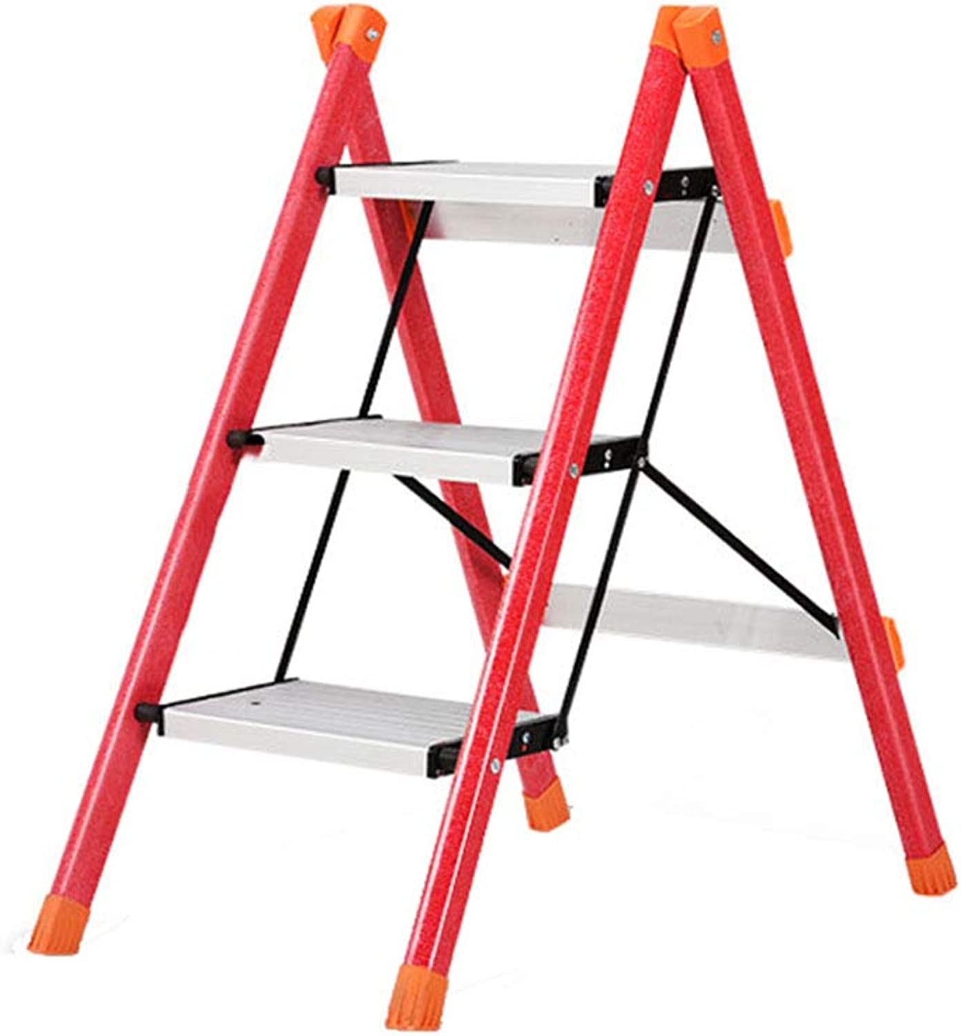 Folding Ladder Stool 3 Steps Small Compact with Non-Slip Mats Flower Shelves 150Kg for Home Office