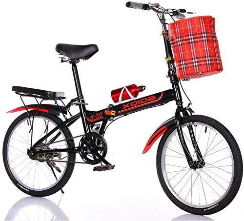 20-Zoll-Klapprad Geschwindigkeit Eintourige - Männer und Frauen Fahrrad - Feststellbremse Erwachsene Ultraleichte Kinder Students Tragbare Aluminiumring Kleines Fahrrad Schwarz 20 Zoll HRTT