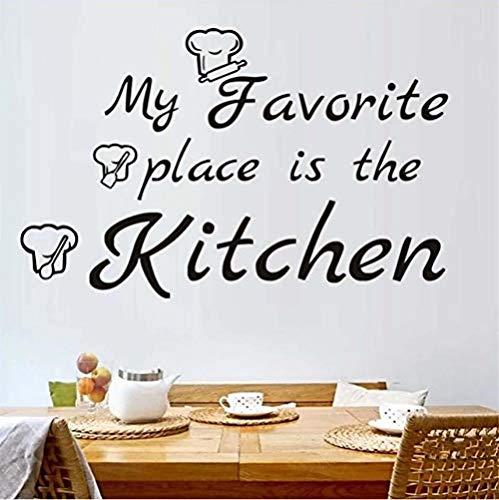 Persoonlijkheid Muurstickers Mijn Favoriete Plaats is De Keuken Muurstickers Home Decoratie Art Vinyl Muurstickers Kinderen S Kamer Chef Hoed Decoratie Poster 59X37Cm