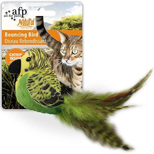 All for Paws Katzenspielzeug Vogel mit Federn Plüschvogel Bouncing Bird - Grün