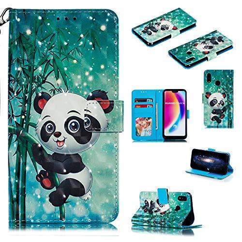 Nadoli Wallet Handyhülle für Huawei P20 Lite,Kreative 3D Karton Panda Muster Taljereep Ständer Flip Ledertasche Brieftasche Schutzhülle Etui für Huawei P20 Lite