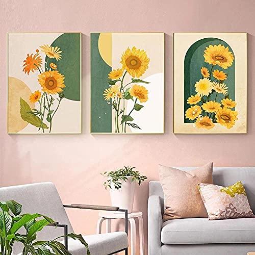 Póster de lienzo para el hogar de girasoles, arte de pared, plantas nórdicas, cuadros de pintura, decoración del hogar, bonito cuadro para vivir
