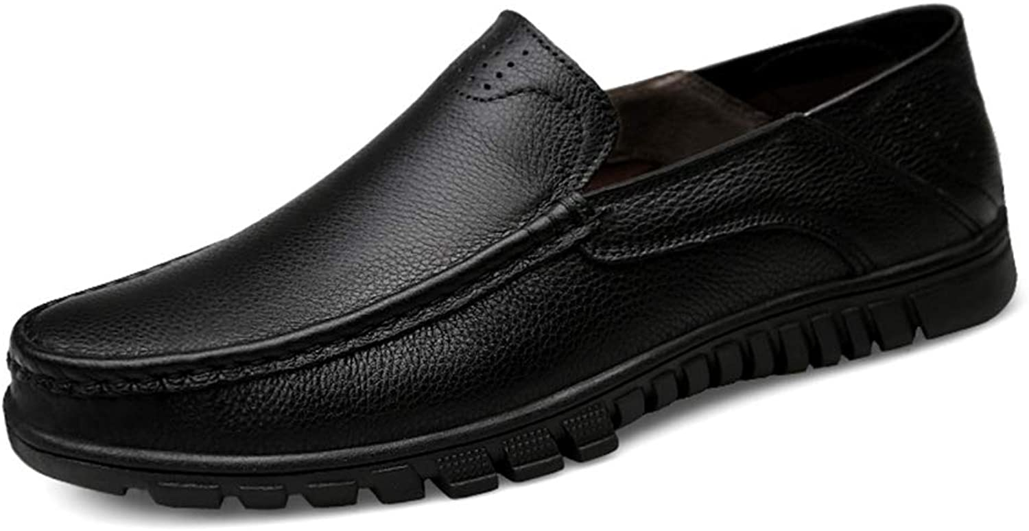 Men's Comfort Loafers Leather Spring Fall Comfort Loafers & Slip-Ons Black Dark Brown,A,46