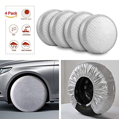 Kohree Tire Covers for RV Wheel Covers Motorhome Tires Set of 4, Waterproof UV Sun Tire Protector Fits for 27 to 29 inches Trailer Travel Camper Tire Diameters, Aluminum Film, Cotton Lining